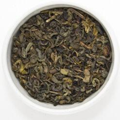 green gunpowder tea in bowl